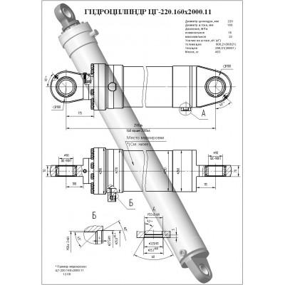 Гидроцилиндр подъёма стрелы ЦГ-220.160х2000.11 (КС-45717.63.400-5-01)